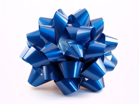 A shinny blue gift bow made from ribbon Stock Photo
