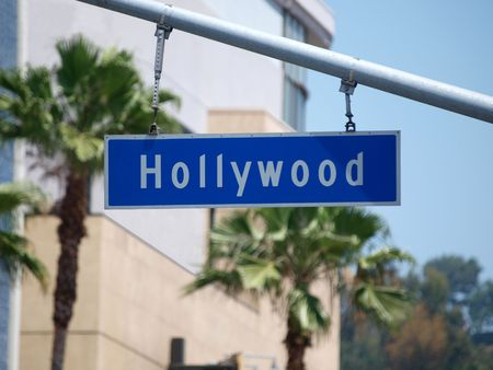 Hollywood Blvd sign with palm tree backdrop. photo