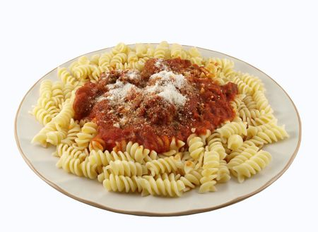 sause: A plate of Rotini pasta with tomato sause and meatball.