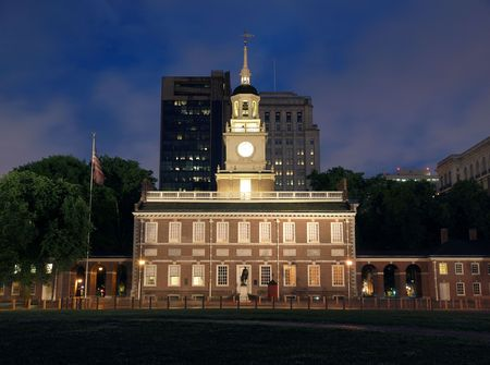 freedom tower: Independence Hall at night in downtown Philadelphia Pennsylvania. Stock Photo