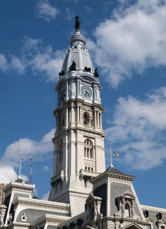 Philadelphia City Hall clock tower with cumulous clouds. Stock Photo - 5040753