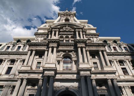 Philadelphia city hall with growing storm clouds Stock Photo - 5080832