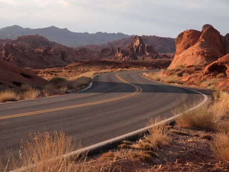Valley of Fire, Nevada, highway and rock formations. Stock Photo - 5260312