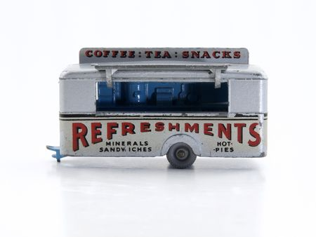 Vintage toy Catering Trailer with generic signage.
