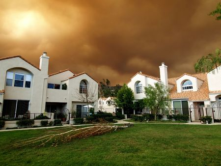 Fire storm closes in on homes in Southern California. Stock Photo - 5275200