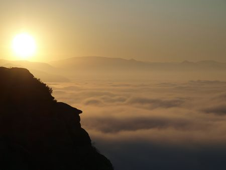 Sunrise over the foggy San Fernando Valley in Southern California.     photo