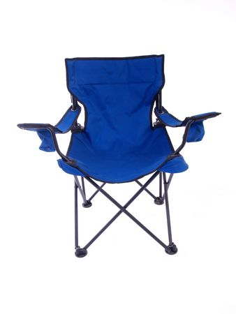 chairs: Blue folding chair for camping and outdoor use.