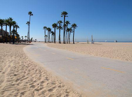 산타 모니카 캘리포니아의 태평양 해변 자전거 경로 스톡 콘텐츠