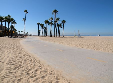 Pacific Beach Bike Path in Santa Monica California Stock Photo