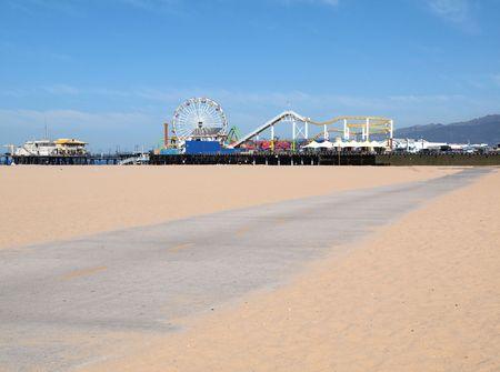 venice: Santa Monica pier bike path on a beautiful summer morning.   Stock Photo