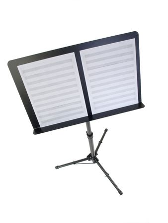 Music Stand with blank sheet music paper.