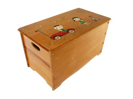 vintage furniture: Vintage wooden toy box from the 1950s.