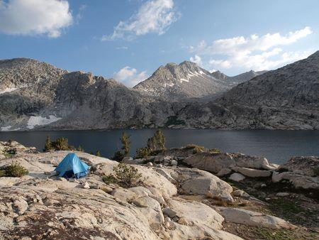 john muir wilderness: A backpack tent overlooks 10,568 Three Island Lake in the John Muir Wilderness of the Sierra National Forest.  Stock Photo