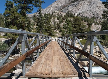 pine creek: Foot Bridge on the John Muir Trail in the Sierra National Forest Stock Photo