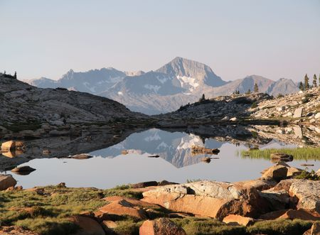 john henry: 12,195 foot Mt. Henry reflected in a high alpine pond in the John Muir Wilderness of the Sierra National Forest.