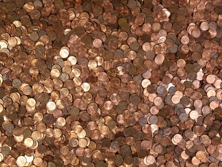 Large pile of shinny American Lincoln pennies. photo