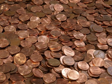 Large pile of shinny American Lincoln pennies. Stock Photo - 5384238