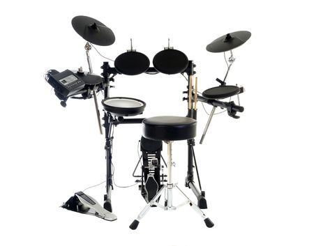 Modern electric drum set isolated on white.   Stock Photo