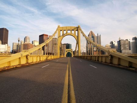 pennsylvania: Big empty bridge in downtown Pittsburgh Pennsylvania.