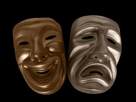 Theatrical comedy and tragedy masks, isolated on black. 免版税图像