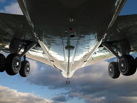 Wide angle up shot of a large jet in flight. Stock Photo - 5498766