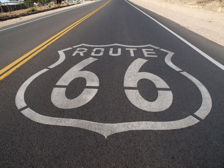 Route 66 sign painted onto the road pavement. photo