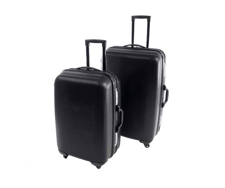 road warrior: Road warrior hard shell suitcases.  Survivors of a hundred airports.           Stock Photo