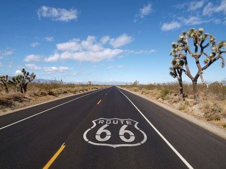 Route 66 crossing Californias Mojave desert.   photo
