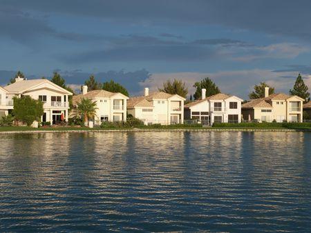 lake front: Lake front homes at sunset in Las Vegas Nevada.
