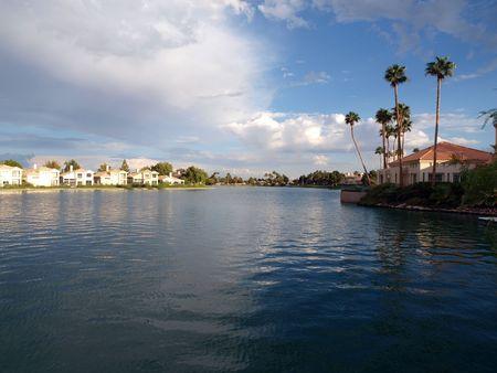 Desert lake front homes at sunset in Las Vegas Nevada. Stock Photo - 5537809