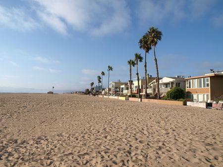 Large beach homes, tall palms and miles of California sand.       photo