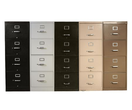 furniture: Funky collection of vintage metal file cabinets.