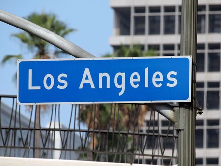 Los Angeles street sign in downtown LA. photo