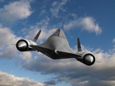 Blackbird cold war spy plane in flight.