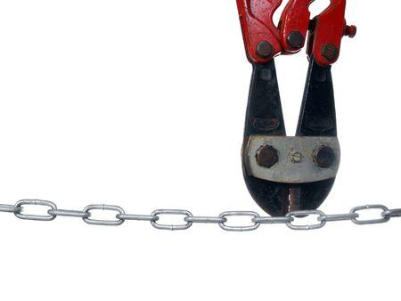Old bolt cutters preparing to break a chain.          Stock Photo - 5621184
