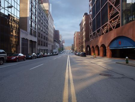 empty: Pittsburgh city street with Montana winter sky.