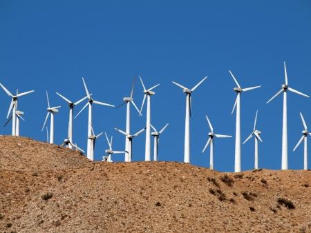 Desert wind mills near Palm Springs California.    photo