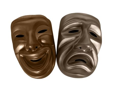 Theatrical comedy and tragedy masks, isolated on black.   Stock Photo