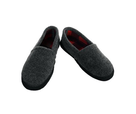 flannel: Comfortable, fuzzy, gray and flannel bedroom slippers.