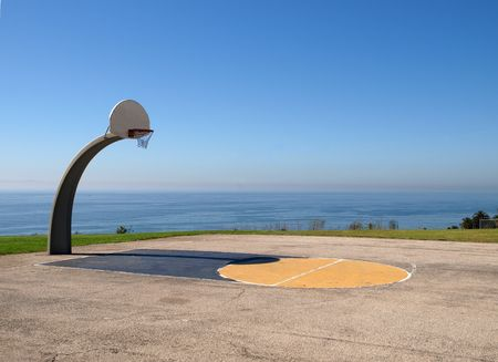 Ocean view basketball at Angel Gate Park in Los Angeles California.  Stock Photo - 5721126