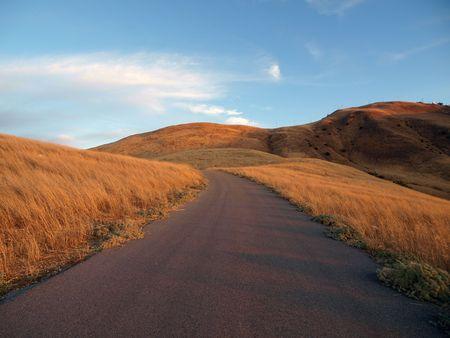 chatsworth: Oat Mountain Way sunrise.  Rural ranch road in Chatsworth California. Stock Photo
