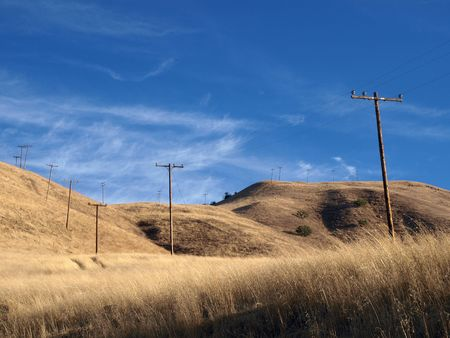 chatsworth: Ranch grasslands and telephone poles in Chatsworth California.