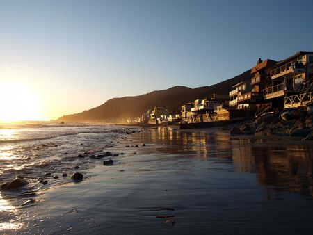 Perfect Malibu sunset along scenic Topanga Beach.
