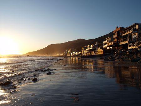 Perfect Malibu sunset along scenic Topanga Beach.