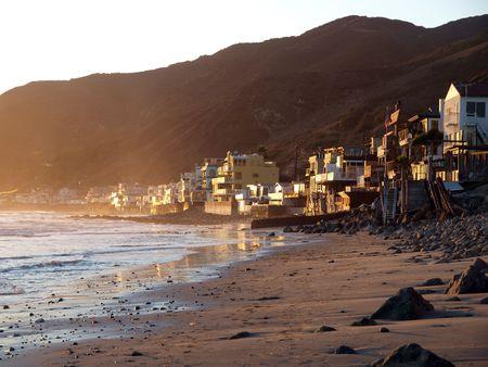 malibu: Sunset at Topanga.  Malibu ocean front life.   Stock Photo