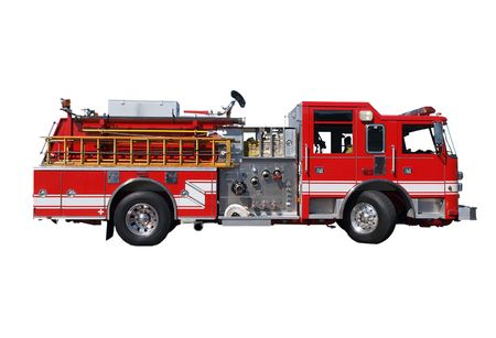 engine fire: Fire truck with hoses and wooden ladder. Stock Photo