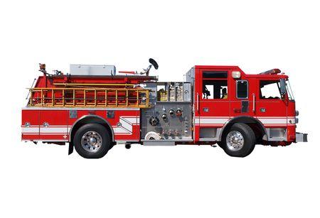 camion de bomberos: Fuego camiones con mangueras y escalera de madera. Foto de archivo