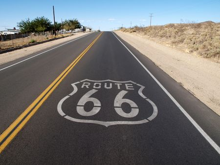Historic Route 66 crossing the Mojave Desert in California Stock Photo - 5856790