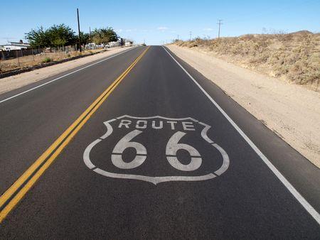 national scenic trail: Historic Route 66 crossing the Mojave Desert in California