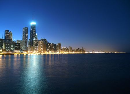 Lake Michigan and tall Chicago towers in evening light. Stock Photo